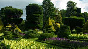 Preview wallpaper uk, bodnant gardens wales, lawns, flower bed, bushes