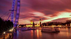 Preview wallpaper uk, england, london, capital, ferris wheel, night, architecture, lights, promenade, river, thames