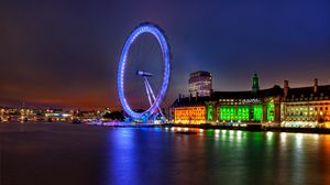 Preview wallpaper uk, england, london, capital, ferris wheel, night, building, architecture, lights, river, thames