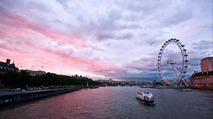 Preview wallpaper uk, england, london, capital, ferris wheel, night, building, architecture, promenade, river, thames, sky, clouds