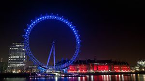Preview wallpaper uk, england, london, evening city lights, lights, illumination, ferris wheel, buildings, houses, quay, river, reflection