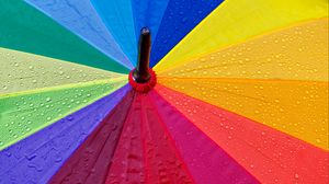 Preview wallpaper umbrella, drops, colorful, rain