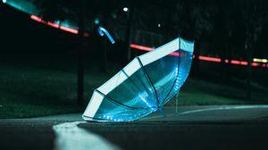 Preview wallpaper umbrella, light, glow, night, dark