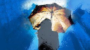 Preview wallpaper umbrella, rain, reflection, puddle