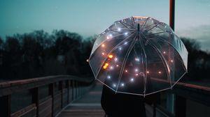 Preview wallpaper umbrella, silhouette, twilight, walk