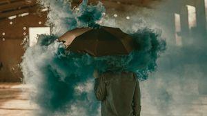 Preview wallpaper umbrella, smoke, colored smoke, man
