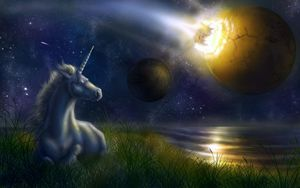 Preview wallpaper unicorn, night, space, planets, collision