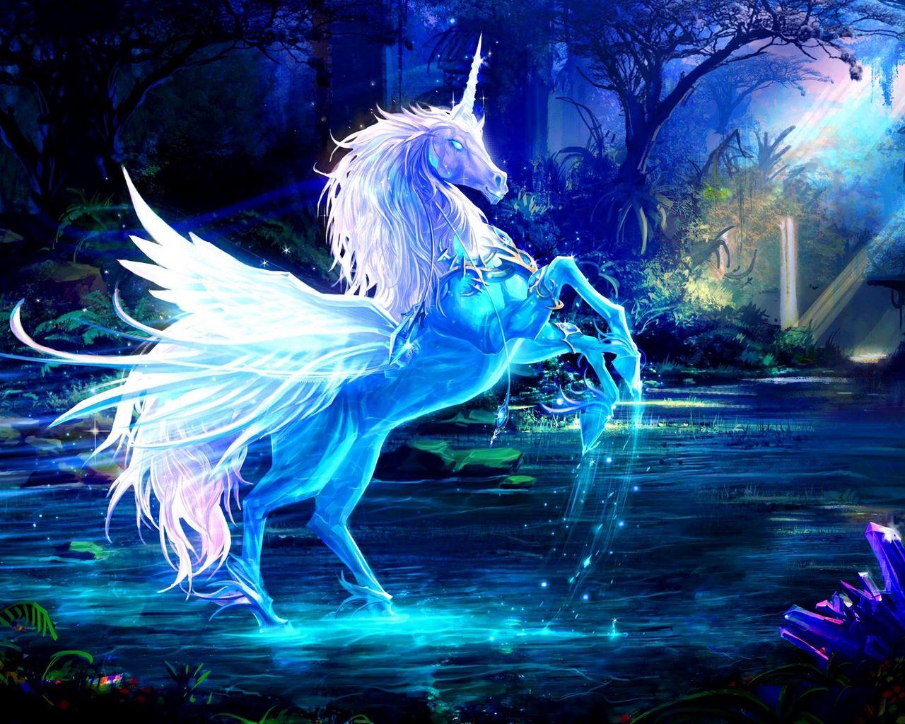 1280x1024 Wallpaper unicorn, water, forest, night, magic