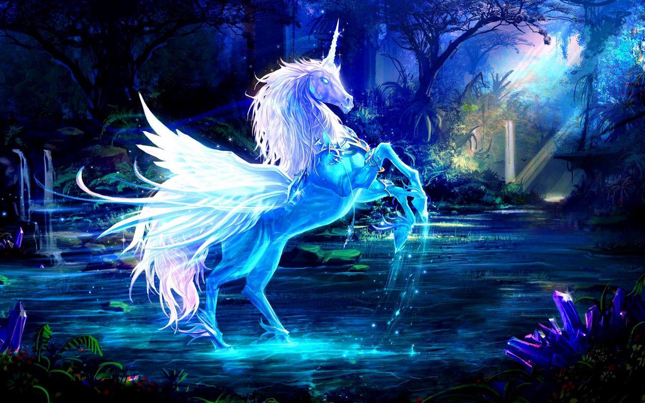 1280x800 Wallpaper unicorn, water, forest, night, magic