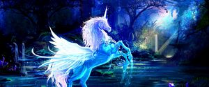 Preview wallpaper unicorn, water, forest, night, magic