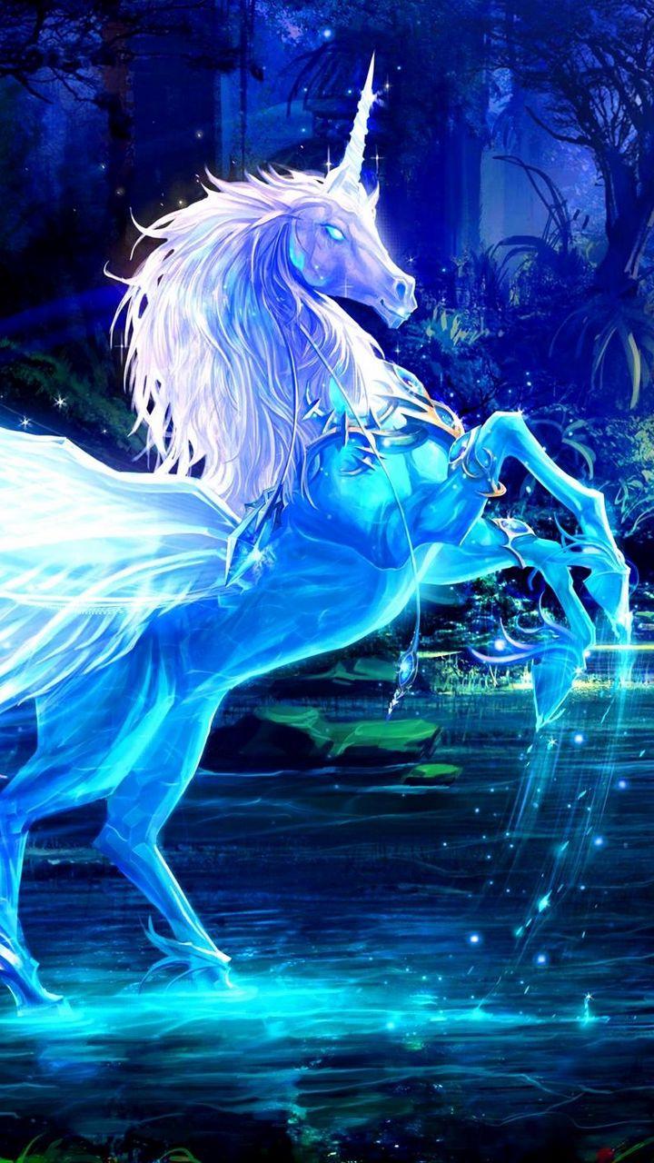 720x1280 Wallpaper unicorn, water, forest, night, magic