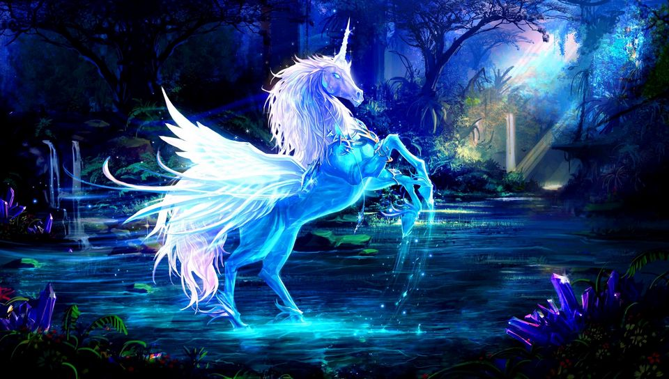 960x544 Wallpaper unicorn, water, forest, night, magic