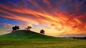 Preview wallpaper usa, california, sunset, spring, may, sky, clouds, field, grass, trees