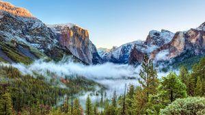 Preview wallpaper usa, yosemite national park, california, mountains, fog, trees