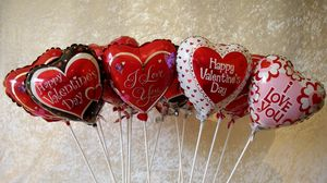 Preview wallpaper valentines day, hearts, balloons, signs, many