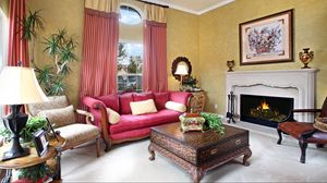 Preview wallpaper vase, curtains, sofa, fireplace, painting, carpet, leather, room, comfort, chair, furniture, plants, flowers