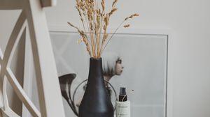 Preview wallpaper vase, grass, spikelets, interior, decor