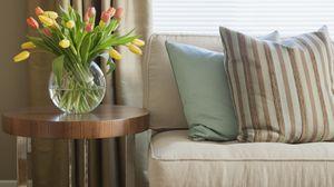 Preview wallpaper vase, sofa, design, interior design, room, pillows, strips, tulips, flowers