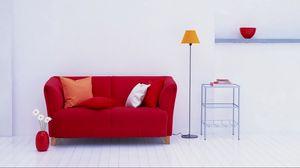 Preview wallpaper vase, sofa, lamp, pillows, flowers