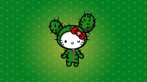 Preview wallpaper vector, cat, kitty, cactus, green