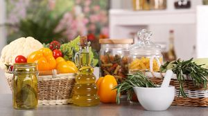 Preview wallpaper vegetables, fresh, dishes, table