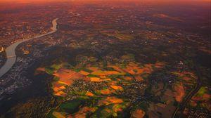 Preview wallpaper village, aerial view, landscape, sunset, dawn