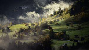 Preview wallpaper village, hills, fog, twilight