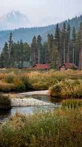 Preview wallpaper village, houses, forest, landscape, nature