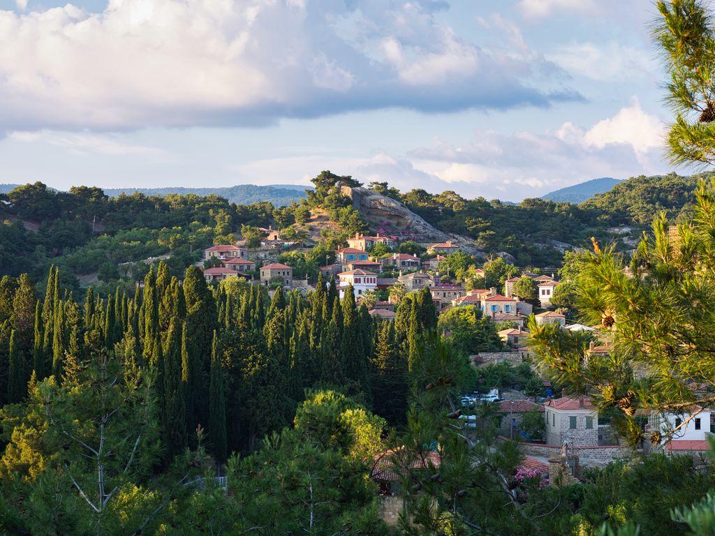 1024x768 Wallpaper village, mountain, buildings, trees
