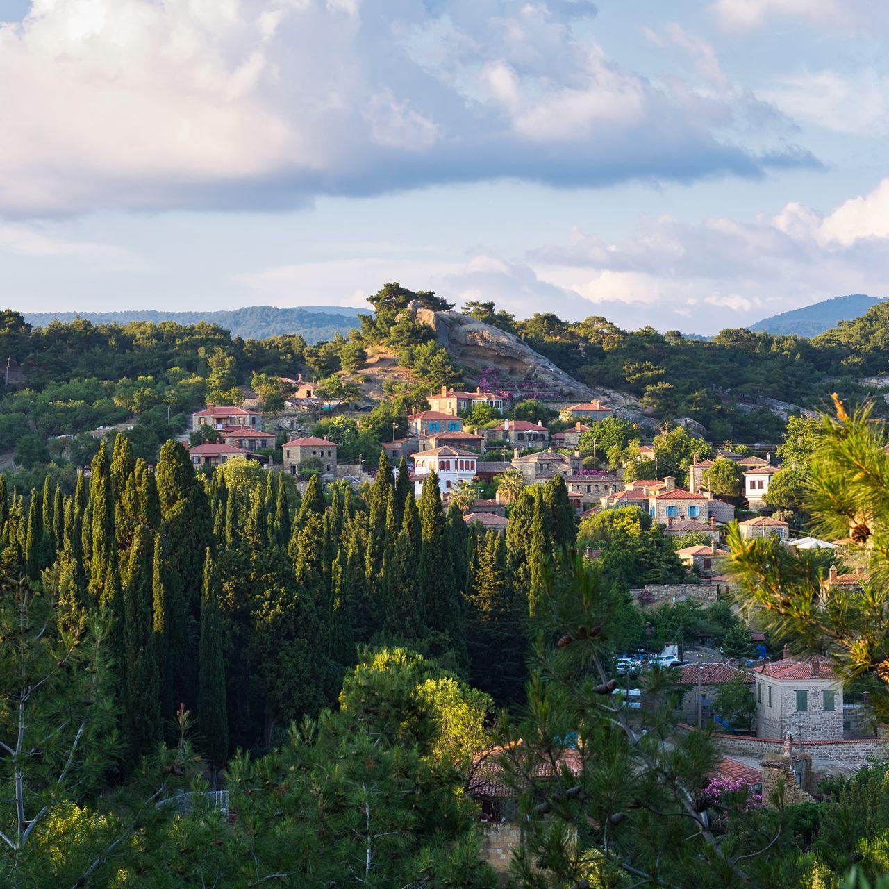 1280x1280 Wallpaper village, mountain, buildings, trees