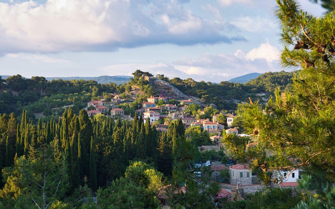 1280x800 Wallpaper village, mountain, buildings, trees