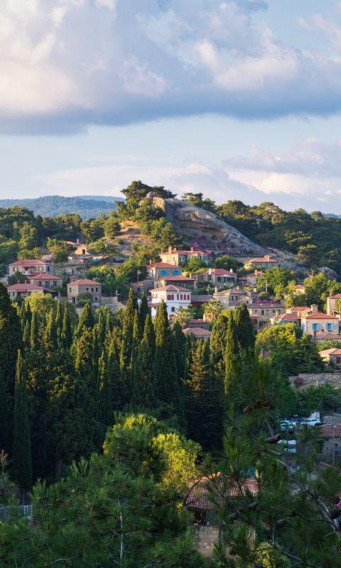 480x800 Wallpaper village, mountain, buildings, trees