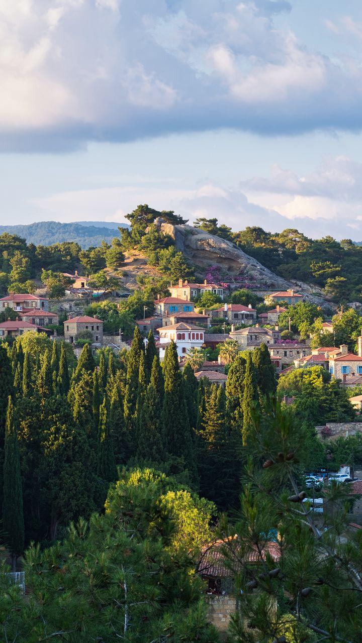 720x1280 Wallpaper village, mountain, buildings, trees