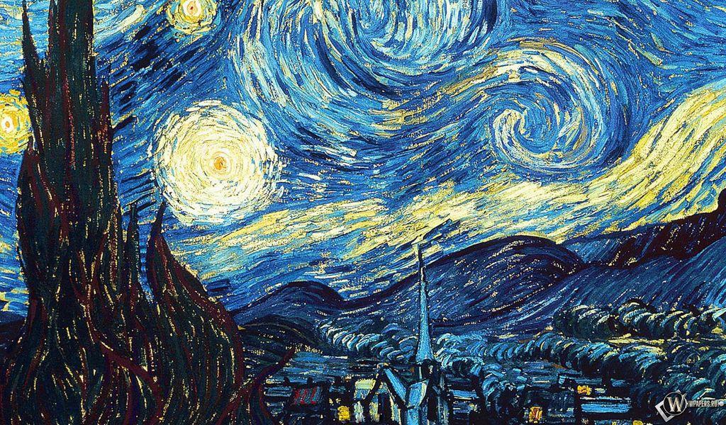 1024x600 Wallpaper vincent van gogh, the starry night, oil, canvas