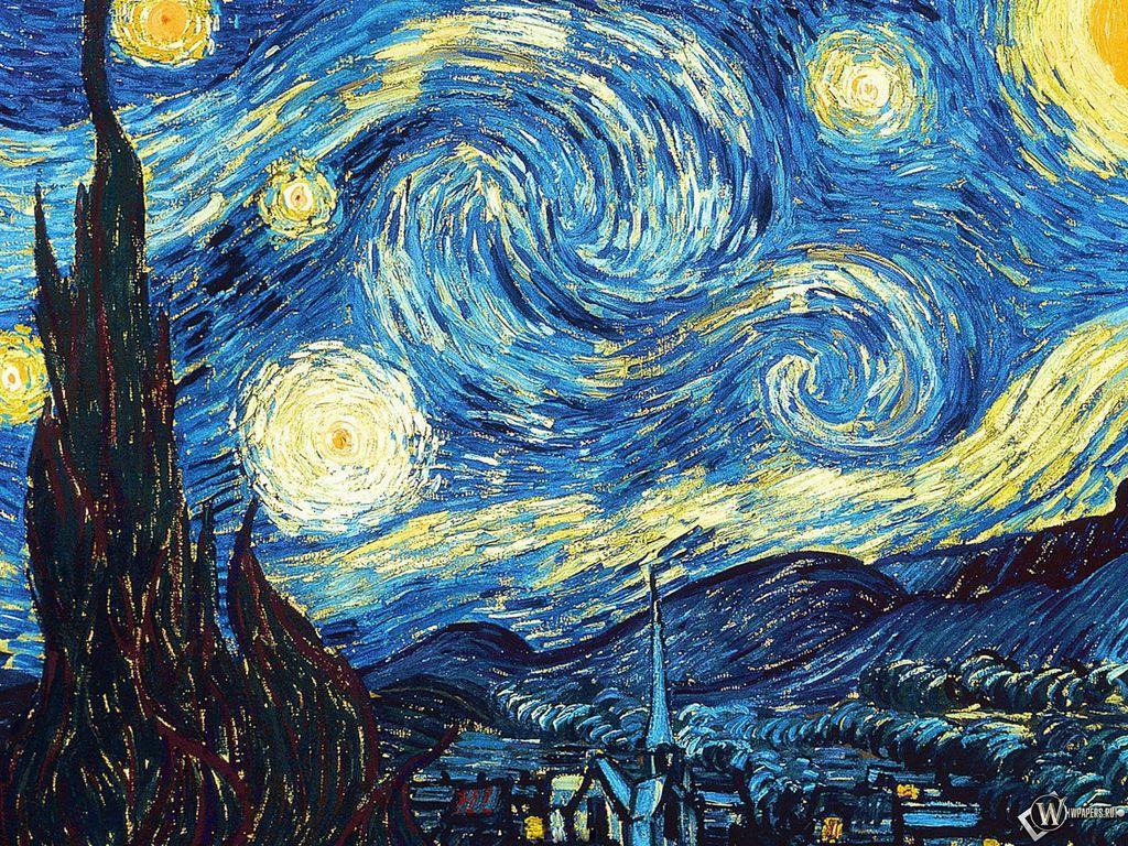 1024x768 Wallpaper vincent van gogh, the starry night, oil, canvas