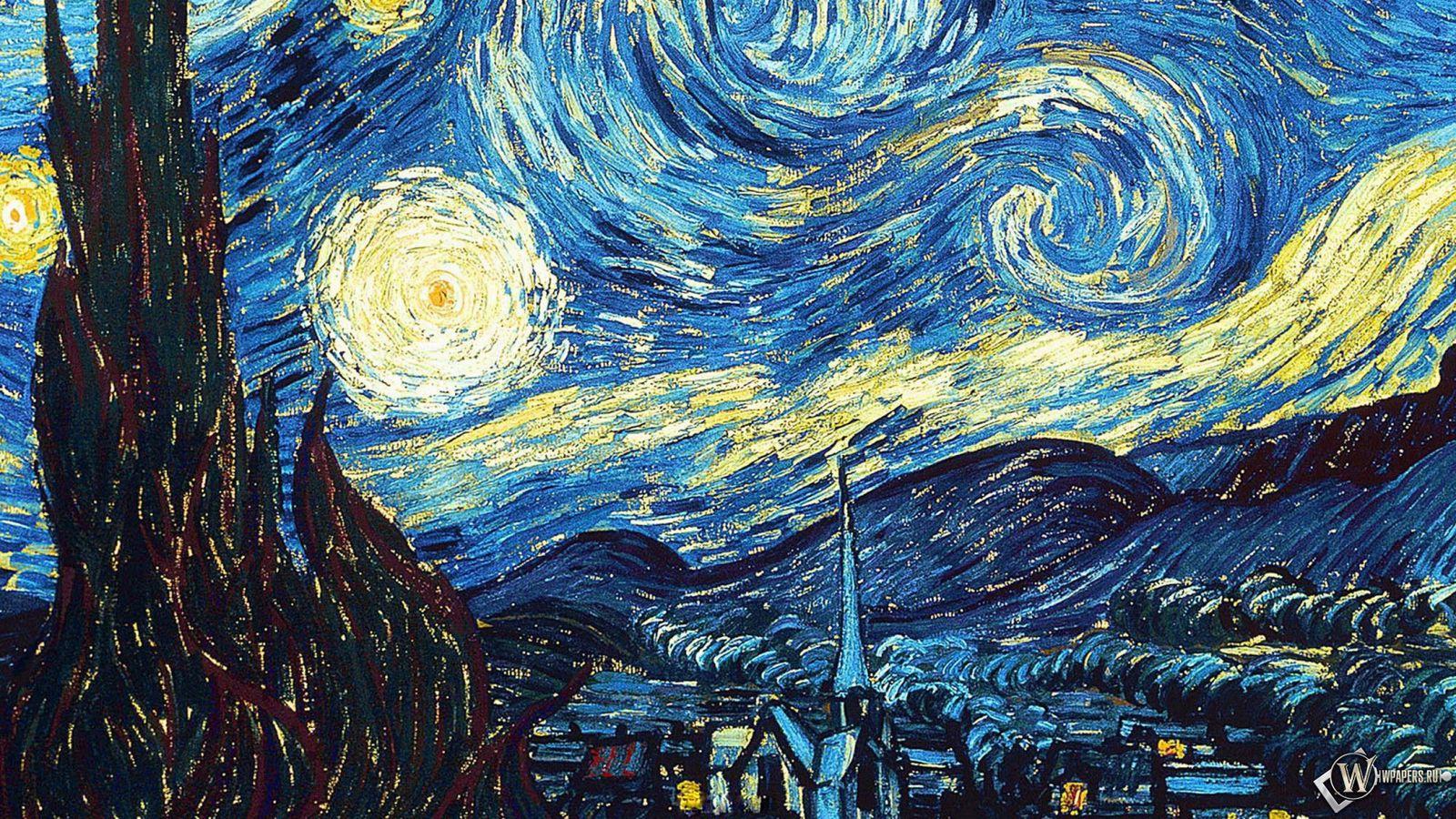 1600x900 Wallpaper vincent van gogh, the starry night, oil, canvas