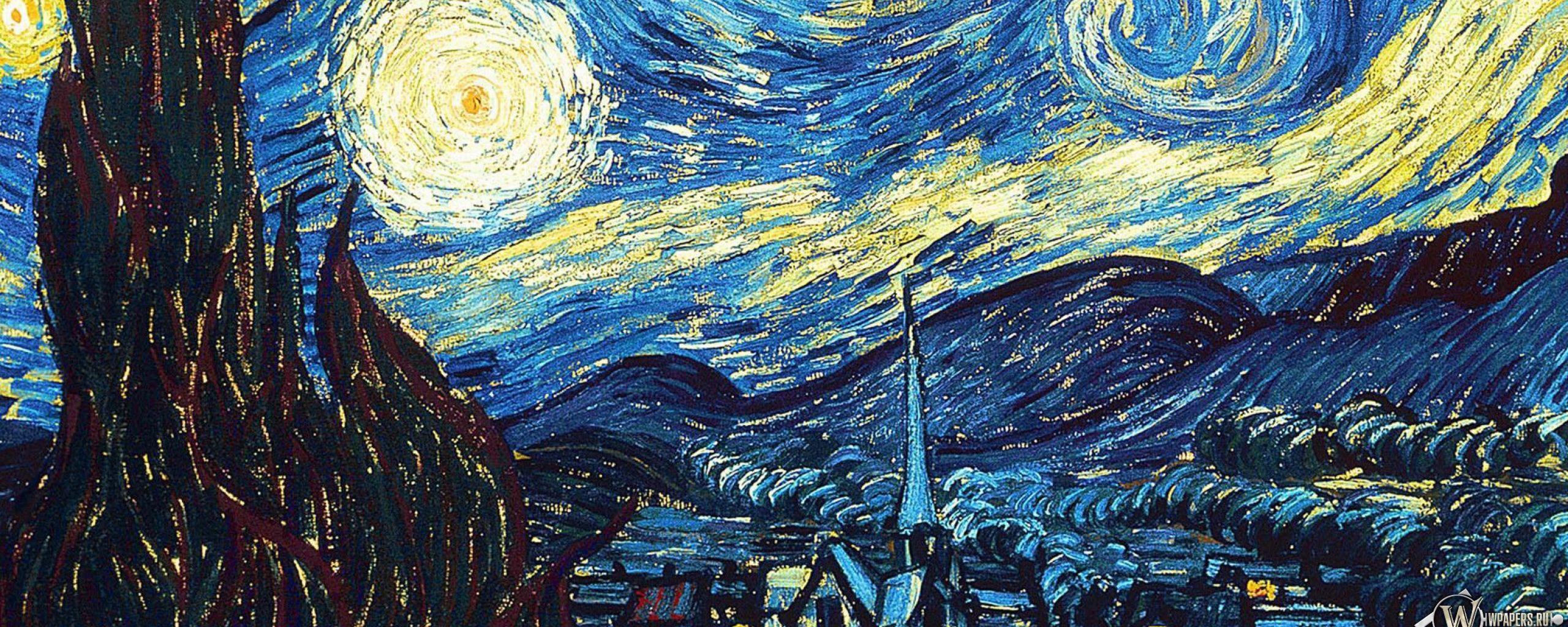 2560x1024 Wallpaper vincent van gogh, the starry night, oil, canvas