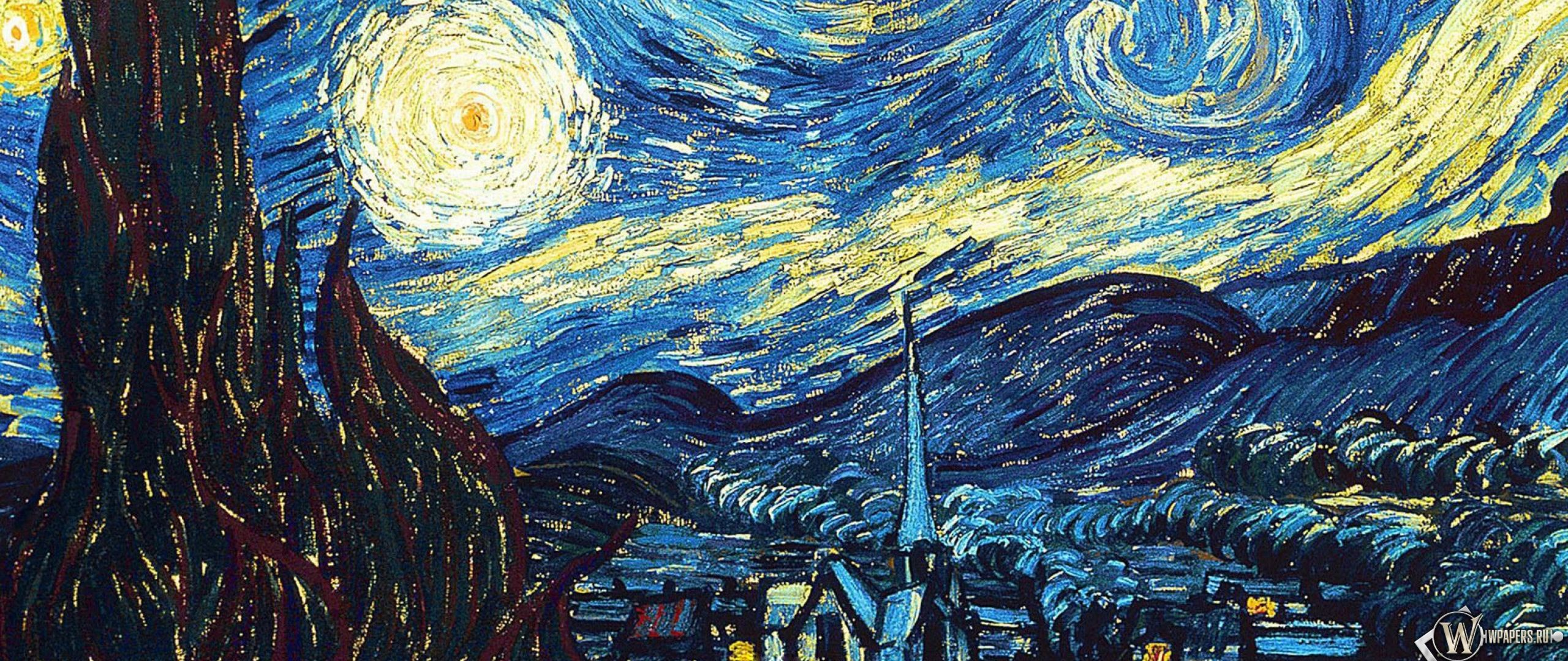 2560x1080 Wallpaper vincent van gogh, the starry night, oil, canvas