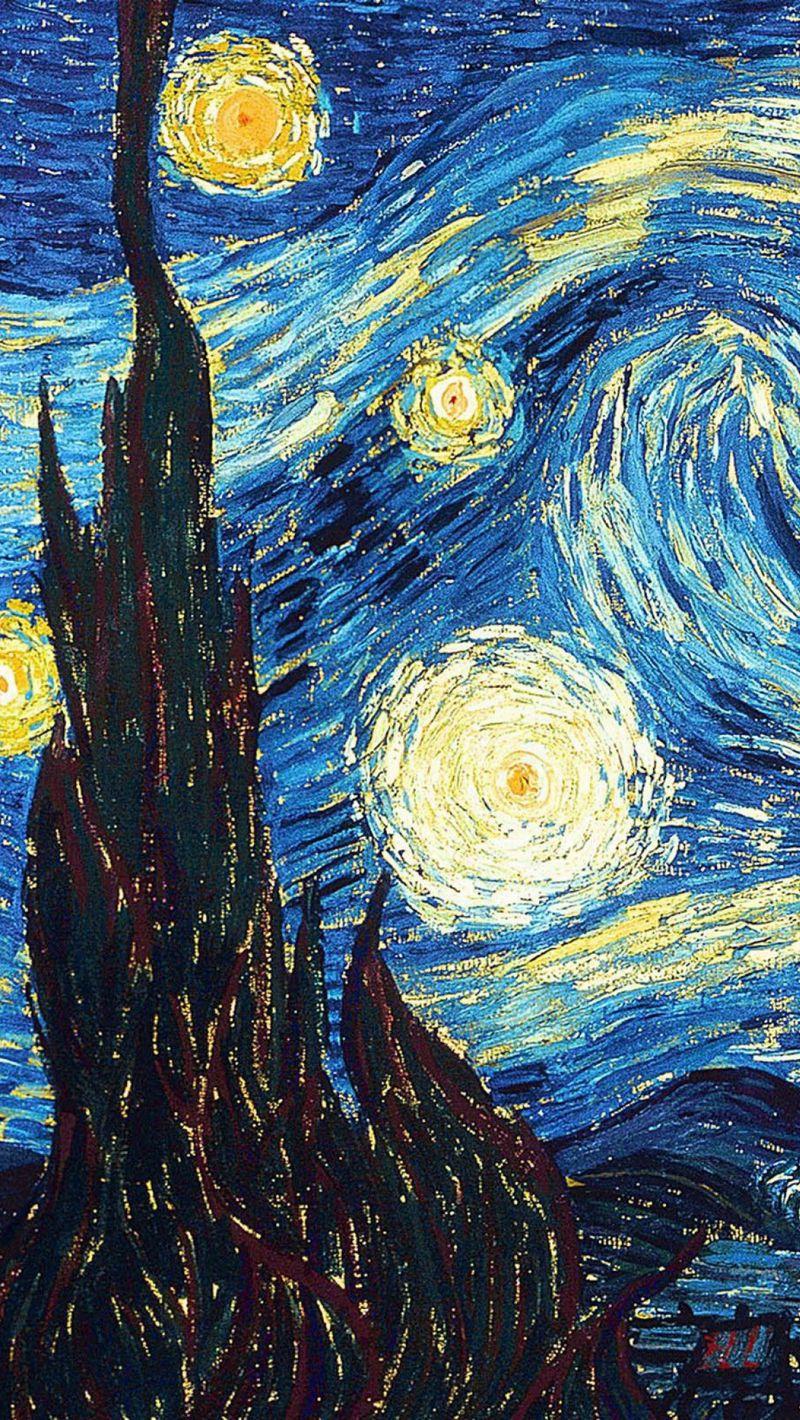 800x1420 Wallpaper vincent van gogh, the starry night, oil, canvas