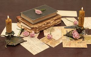 Preview wallpaper vintage, books, old, flowers, roses, candles, candle holders, letters, cards, paper, table