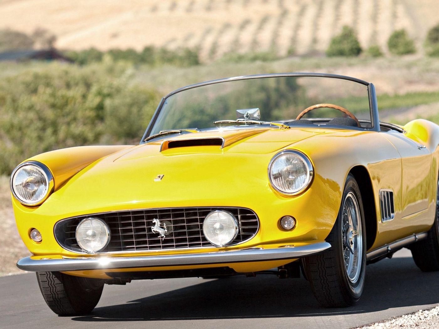 1400x1050 Wallpaper vintage, ferrari, convertible, yellow