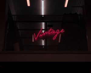 Preview wallpaper vintage, inscription, neon, backlight
