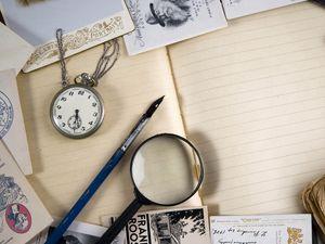 Preview wallpaper vintage, magnifier, watch, book, books, postcards