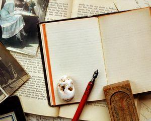Preview wallpaper vintage, notebook, pen, photography, retro, sepia, bar
