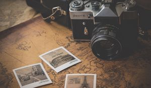 Preview wallpaper vintage, retro, camera, map, photos, travel