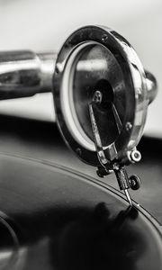 Preview wallpaper vinyl player, music, bw
