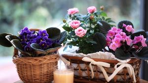 Preview wallpaper violet, blooms, roses, flowers, baskets, glass, drink