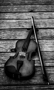 Preview wallpaper violin, bw, violin bow, musical instrument