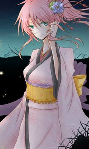 Preview wallpaper vocaloid, megurine luka, anime, girl, kimono