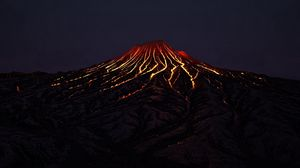 Preview wallpaper volcano, crater, lava, hot, dark